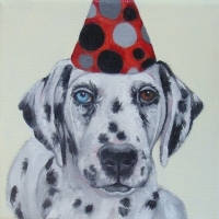 Jennifer Wigmore - Dalmation in Red Dot Hat