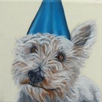 Jennifer Wigmore - Westie in a Blue Party Hat