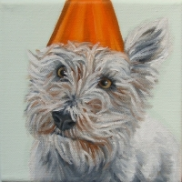 Jennifer Wigmore - Westie in a Orange Party Hat