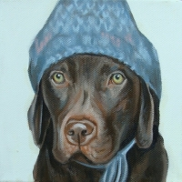 Jennifer Wigmore - Chocolate Lab in a Winter Hat