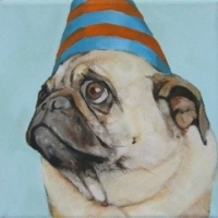 Jennifer Wigmore - Blue & Orange Hat Pug 1b
