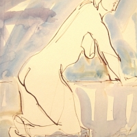 Mel Delija - Nude Kneeling