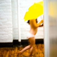 Virginia Macdonald - Yellow Umbrella, Side View