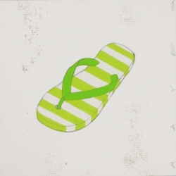 Christopher Hayes - Green Striped Flip Flops