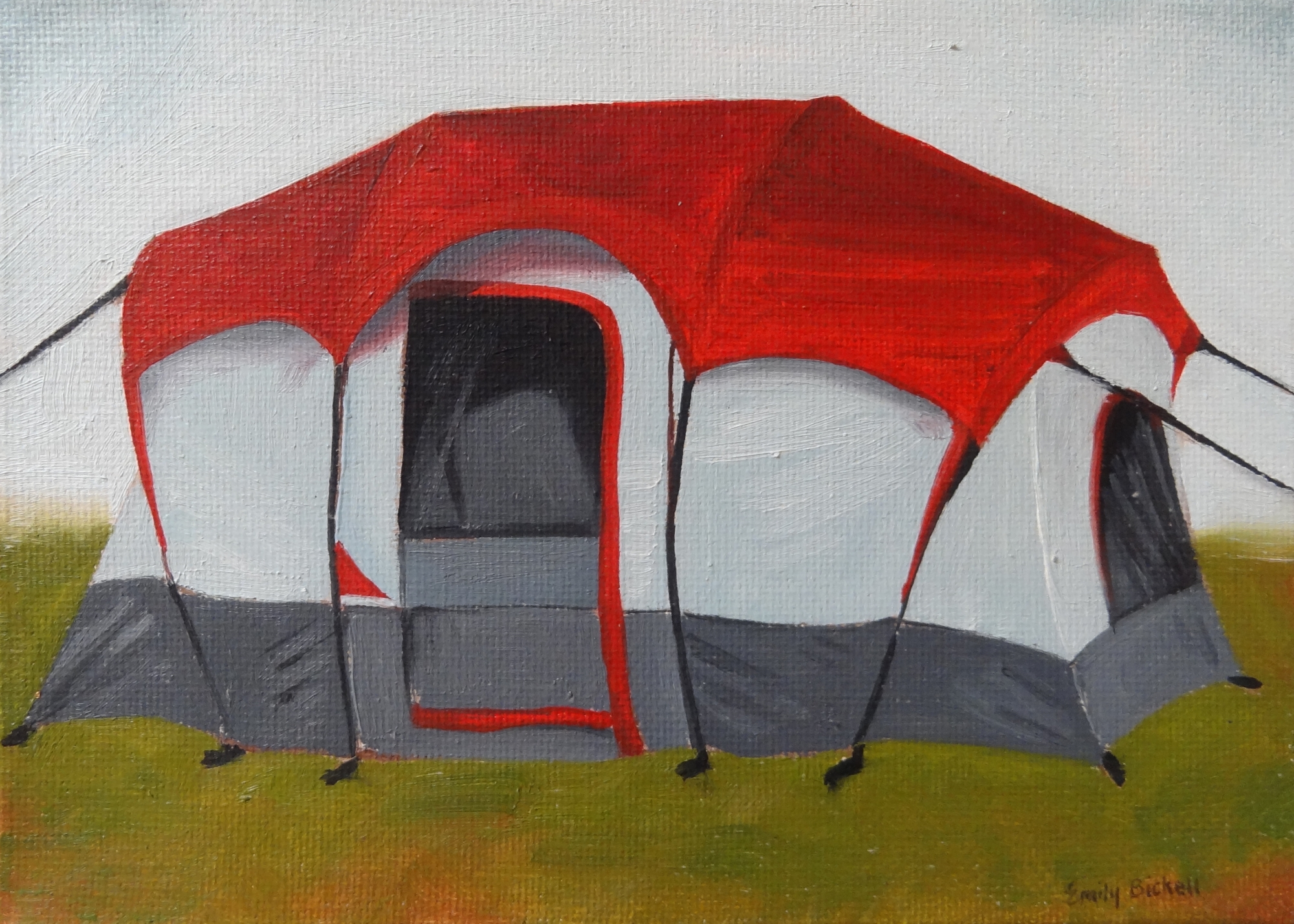 Coleman Tent (red) by Emily Bickell