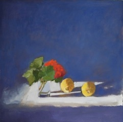 Red Geranium with Lemons by Hilda Oomen