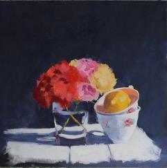Geranium & Cups  by Hilda Oomen
