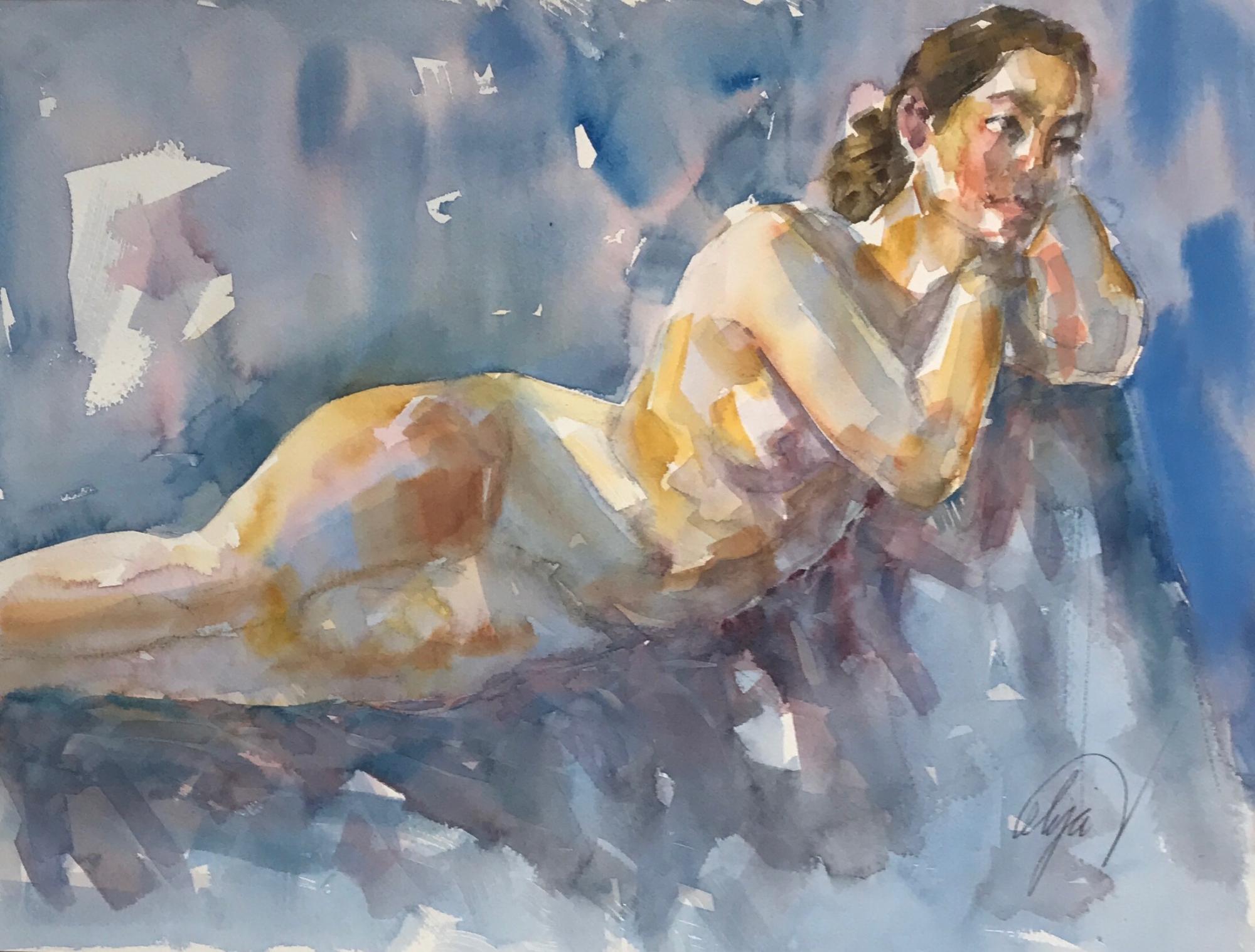 Reclining Nude by Mel Delija
