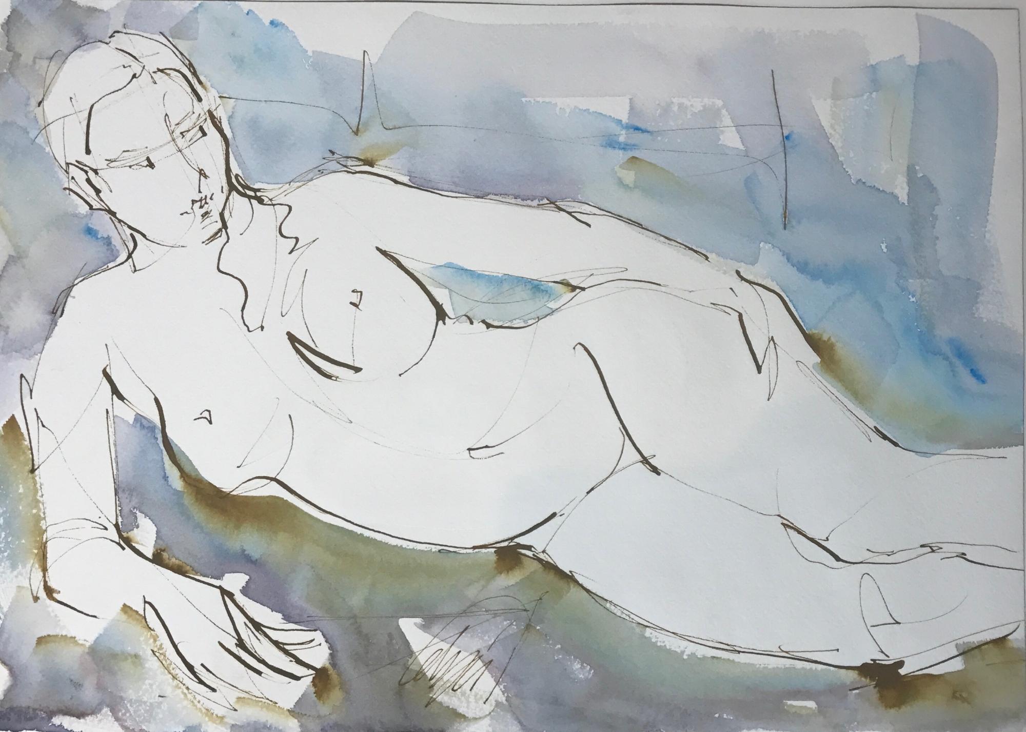 Nude Semi Reclined  by Mel Delija