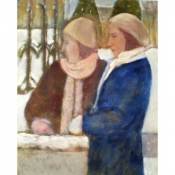 Susan McLean Woodburn - Sisters in the Snow-Waiting by the Wall