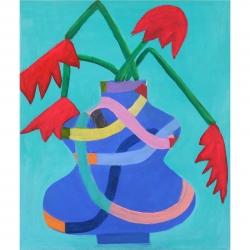 Julie Davidson Smith - Blue Vase Red Blooms