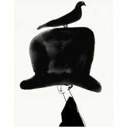 Annie  Naranian  - Chapeau Noir With a Bird on Her Head