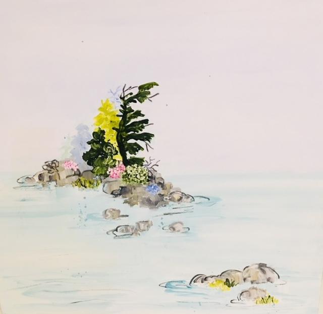 Island with Wild Roses  by Rundi Phelan