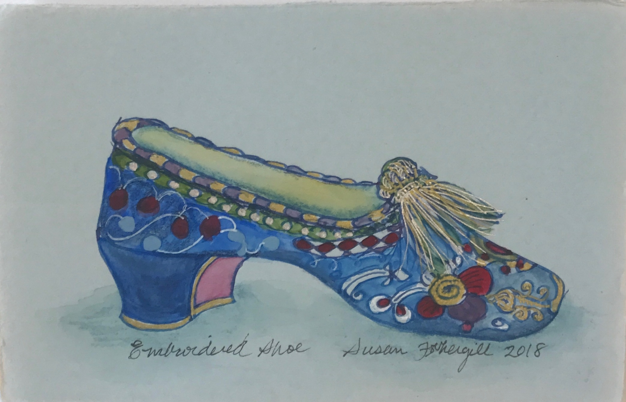 Embroidered Shoe by Susan Fothergill
