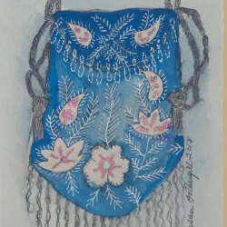 Susan Fothergill - Blue, Pink and Silver Reticule