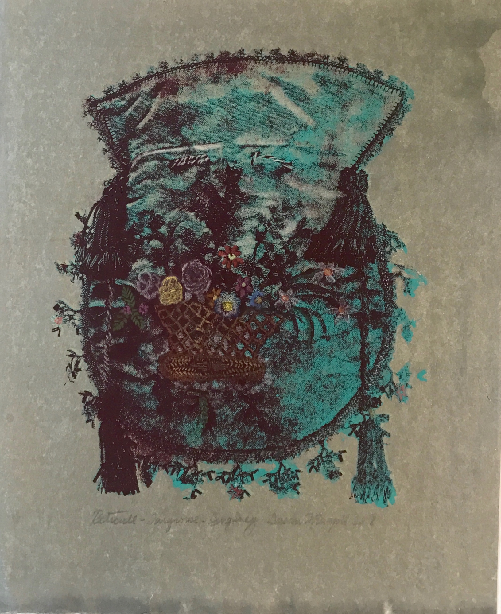 Reticule:- Turquoise and Burgundy by Susan Fothergill
