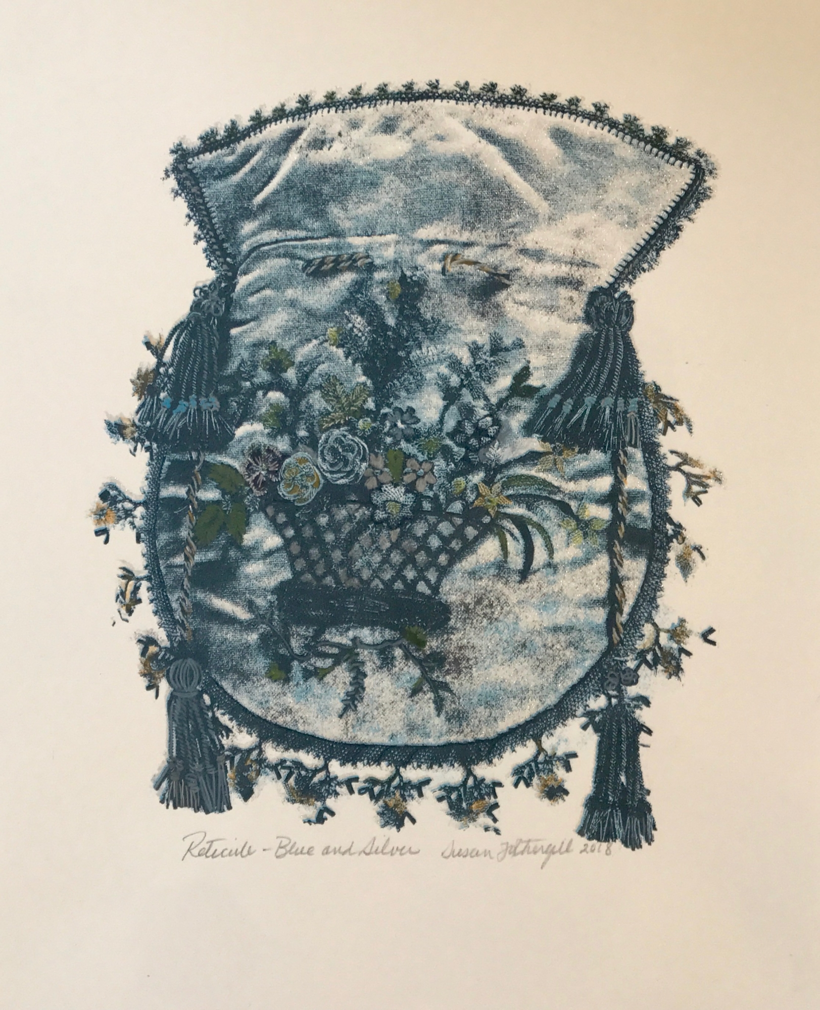 Reticule- Blue and Silver by Susan Fothergill