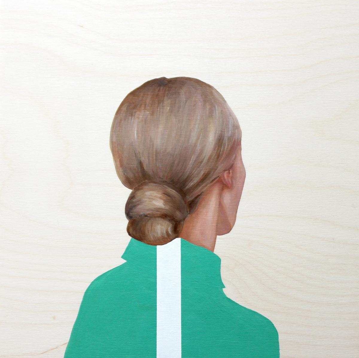 Girl in Green Shirt with White Stripe  by Marina  Nazarova
