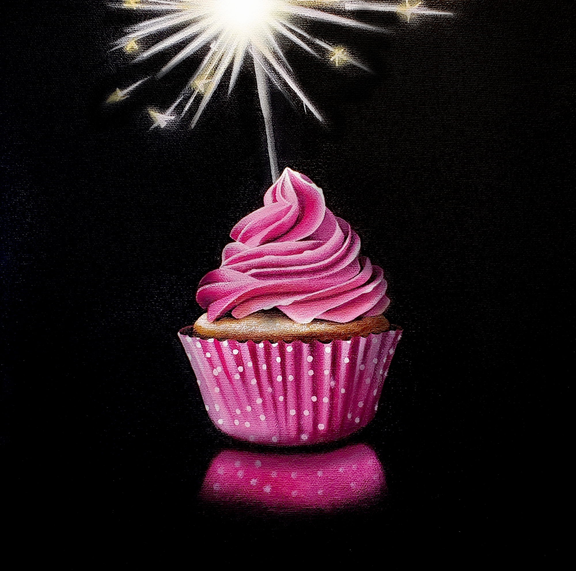 Tasting Room: Pink Cupcake with Sparkler  by Erin Rothstein