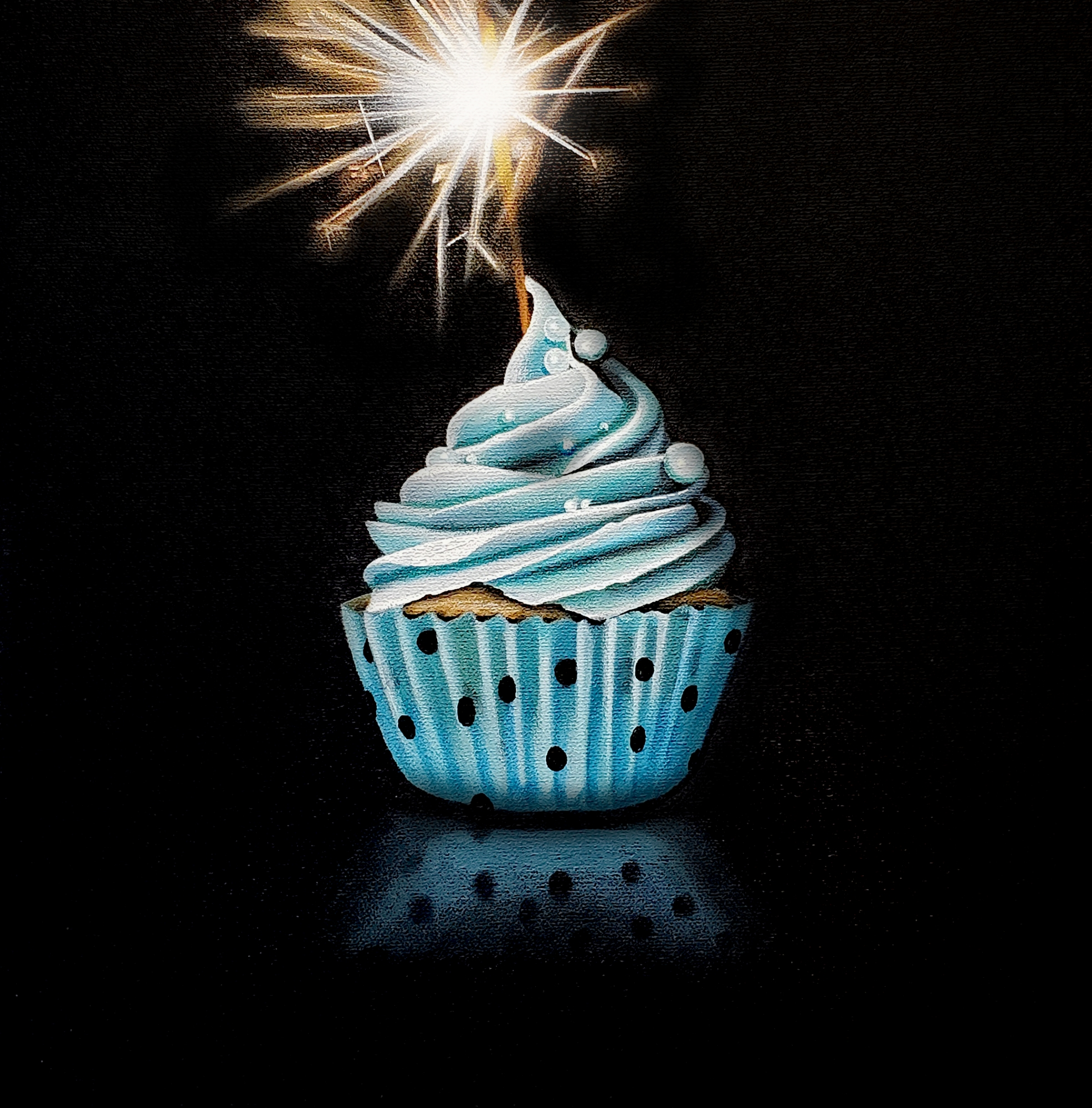 Tasting Room: Blue Cupcake with Sparkler  by Erin Rothstein