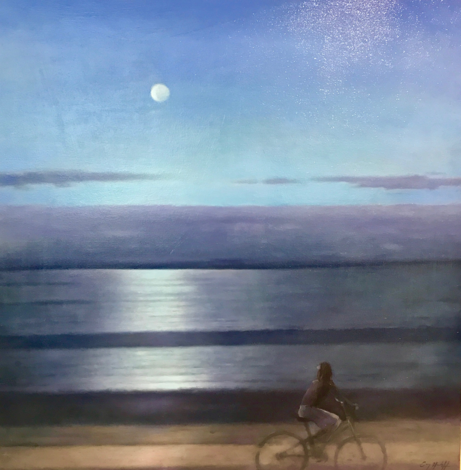 Cyclist and the Moon  by Greg Nordoff