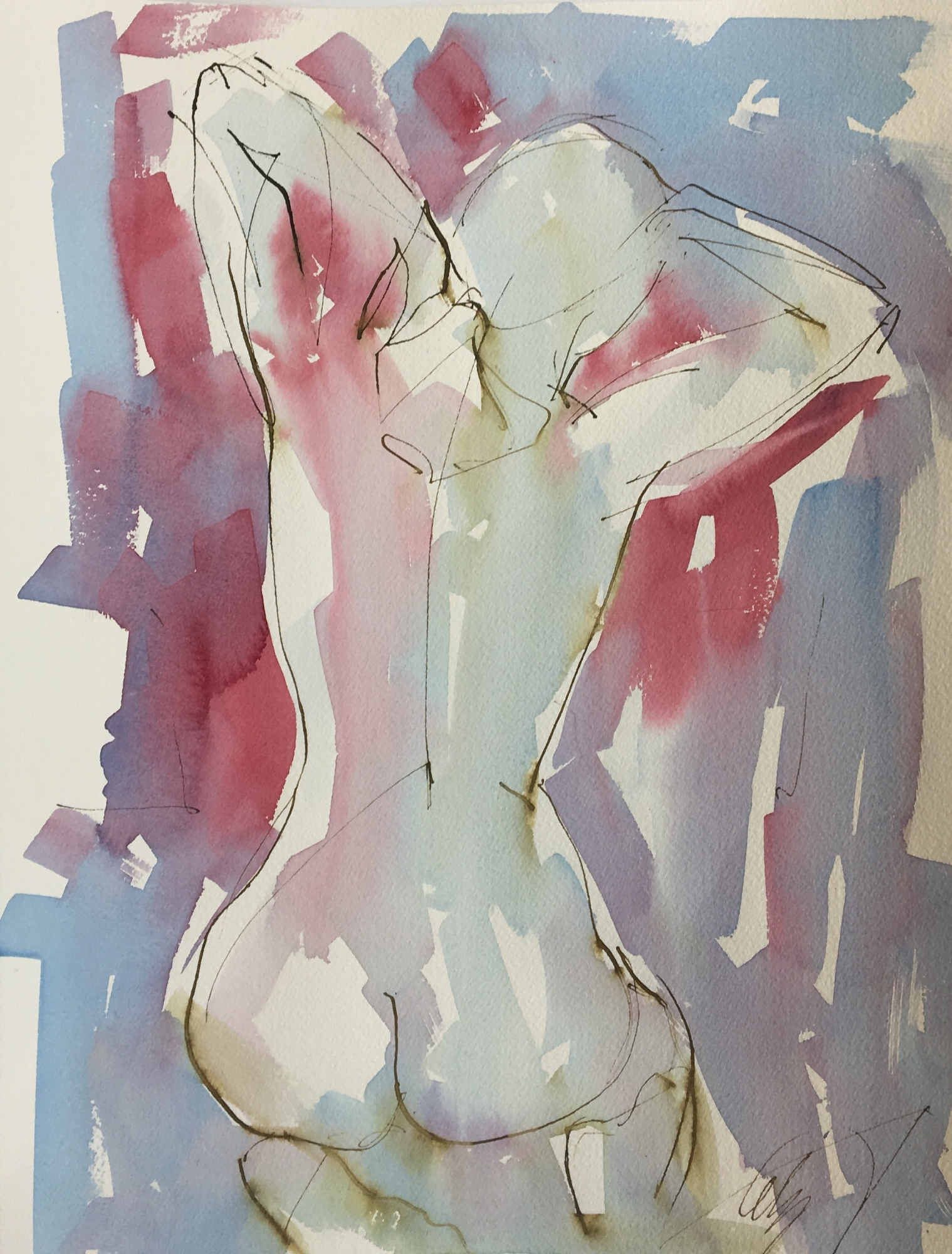 Kneeling Nude  by Mel Delija