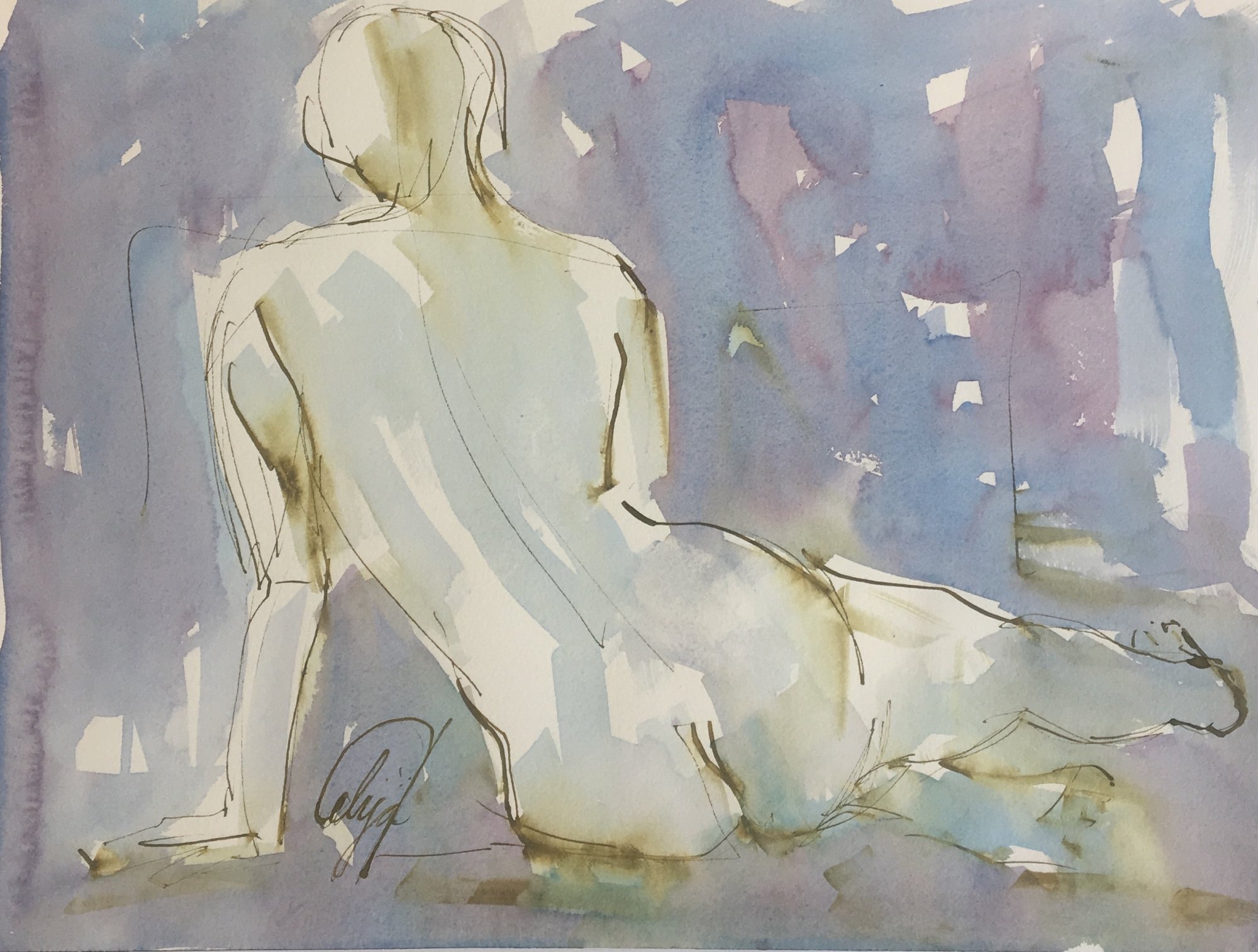 Seated Nude III by Mel Delija