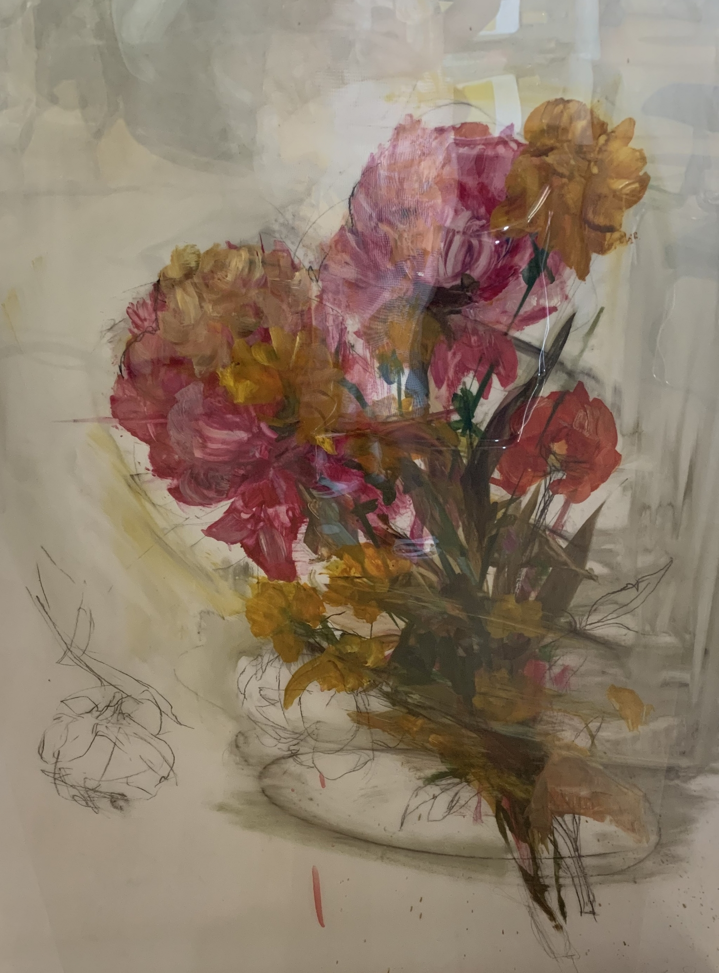 Large Floral Pink and Yellow  by Madeleine Lamont