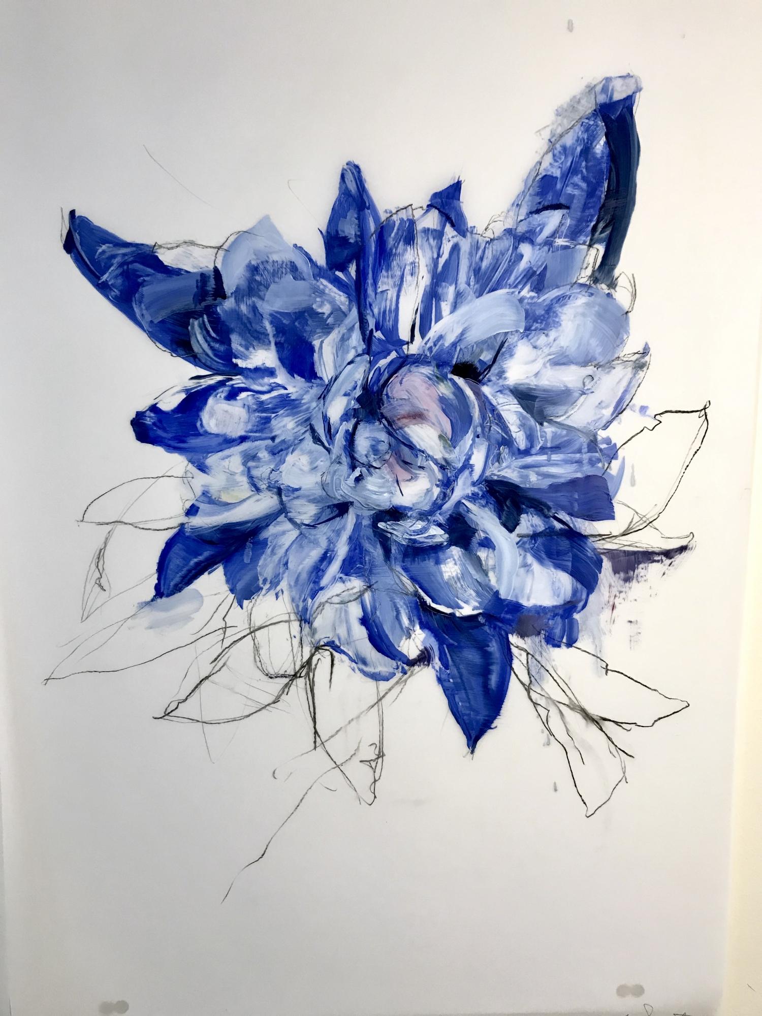 Deep Blue Peony 3 by Madeleine Lamont