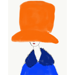 Annie  Naranian  - Chapeau Orange et Bleu