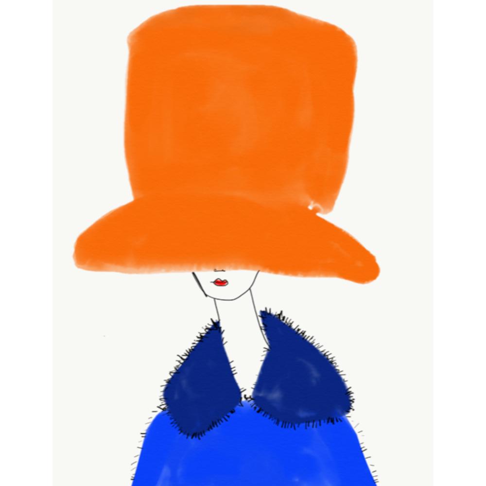 Chapeau Orange et Bleu by Annie  Naranian