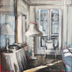Hanna Ruminski - Parisian Apartment in White With Floor Lamp