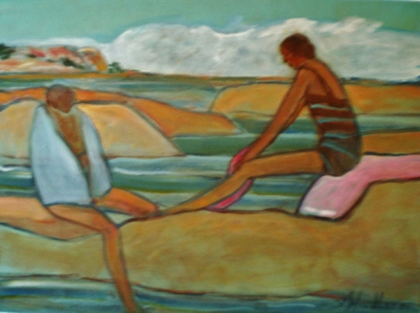 Two Bathers-The Open - Georgian Bay by Susan McLean Woodburn