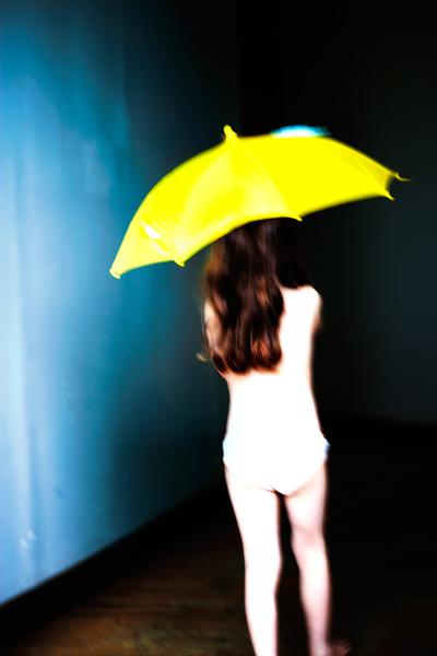 Yellow Umbrella, Back View (Dark) by Virginia Macdonald