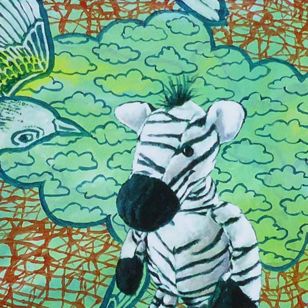 Zebra with Birds by Marcel Kerkhoff