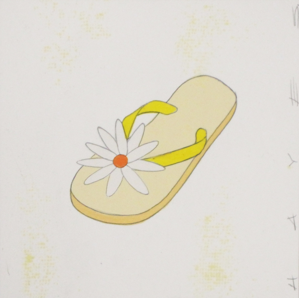 Yellow Floral Flip Flop  by Christopher Hayes