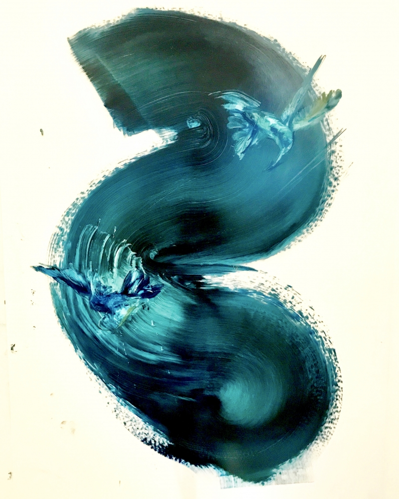 Humming bird-Blue Black Swirl by Madeleine Lamont