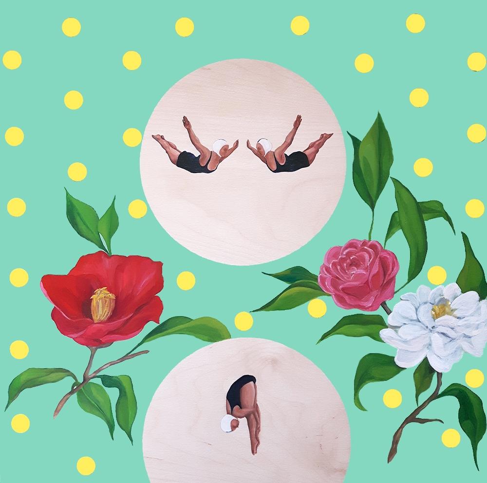 Divers and Camellias  by Marina  Nazarova