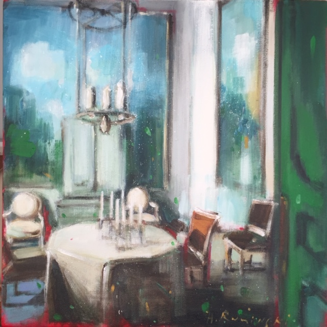 Parisian Apartment with Green Door by Hanna Ruminski