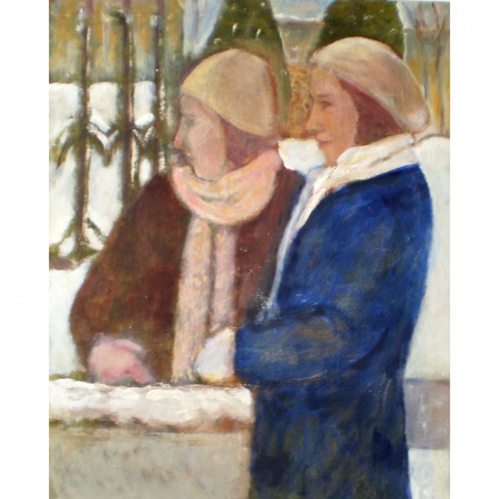 Sisters in the Snow-Waiting by the Wall by Susan McLean Woodburn